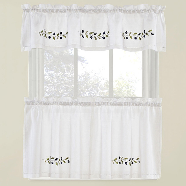... and Curtain Tier Set - Contemporary - Curtains - by Overstock.com