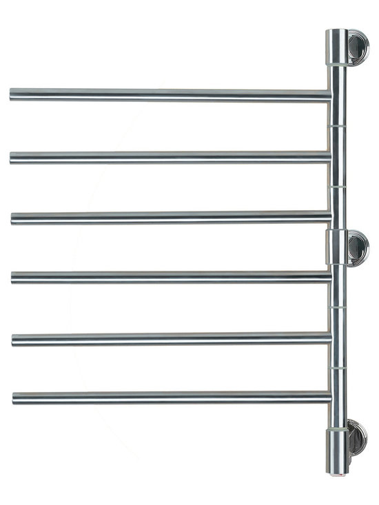 Hudson Reed - Swivel Electric Plug In Heated Towel Rail 22 x 29 Brushed & Polished - With the stylish and practical Amba Swivel towel warmer, you can keep all the household towels dry and luxuriously warm.  This is a sleek and attractive towel heater, featuring six bars which conveniently swivel, ensuring your towels are always close at hand.   Contemporary and minimalist, this model is perfectly suited to modern bathroom suites, and can also be fitted in the kitchen. A choice of brushed or polished chrome finish is available.  Powered by electricity, this towel warmer is simple to operate, and comes with a two year warranty.  Swivel Electric Heated Towel Rail 22 x 29 Brushed & Polished Details:  Dimensions: (W x H x D) 22 x 29 x 3.9  Output: 60 Watts (205 BTUs)  Number of bars: 6   Suitable for bathroom, guest bathroom, kitchen etc.  2 year warranty