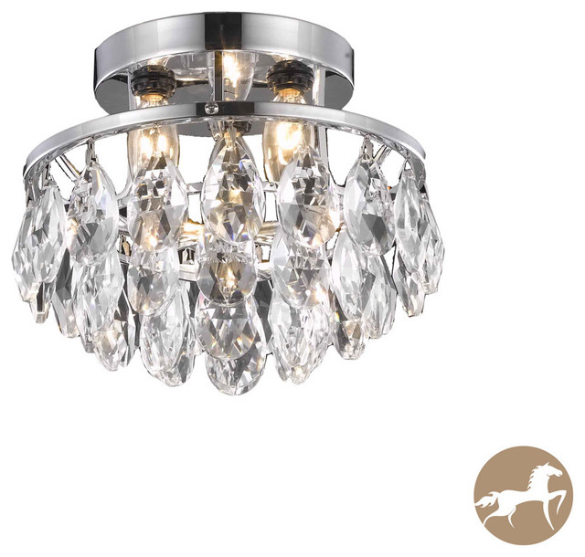 Christopher Knight Home Three Light Chrome Crystal Drop Chandelier Contemporary Chandeliers