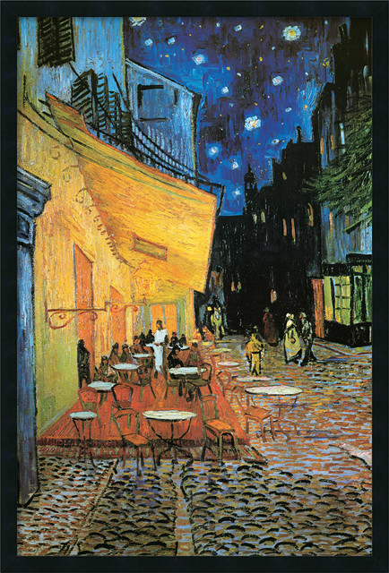 Cafe Terrace at Night, 1888 Framed with Gel Coated Finish by Vincent Van Gogh traditional-prints-and-posters
