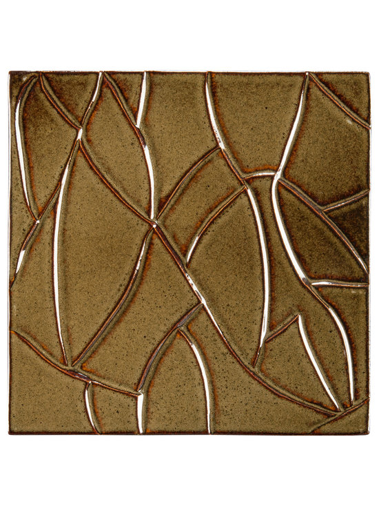 "Ceramic - ANN SACKS Chinois by Robert Kuo 9"" x 9"" ice crackle ceramic field in chestnut"