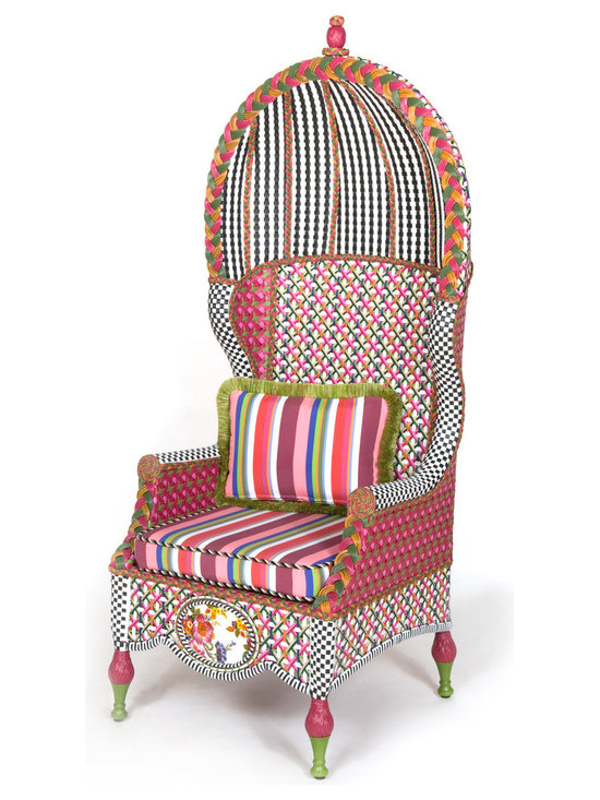 Flower Market Outdoor Bonnet Chair | MacKenzie-Childs - Our Flower Market Outdoor Furniture Collection blooms where planted. We've captured the colors of summer in Aurora—pink, fuchsia, green, orange, red and blue—with this collection. Fancy, fun, and just a touch eccentric, with inset Flower Market enamelware panels and black and white accents, front and back. Sturdy, easy care, and made to withstand the elements. Hand-woven resin wicker, powder-coated metal accents, solid iron frame. Bonnet Chair is double-woven for durability. Includes one Flower Market Outdoor Lumbar Pillow.