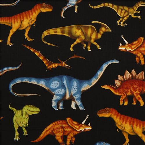 Black Dinosaur Fabric For Boys By Timeless Treasures