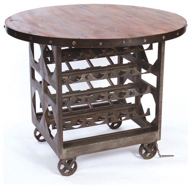 Industrial Reclaimed Wood Wine Cellar Counter Height Table Traditional Kitchen Islands And