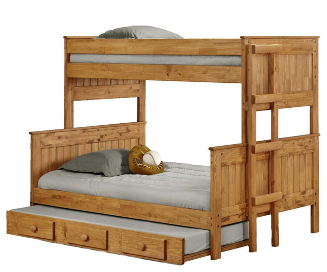 Chelsea Home Twin Over Full Stackable Bunk Bed in Ginger Stain traditional-bunk-beds