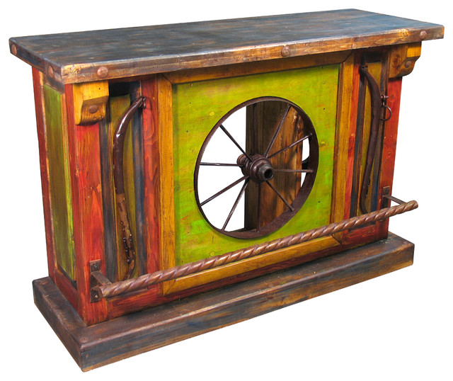 Painted Wood Wagon Wheel Bar Rustic Furniture other