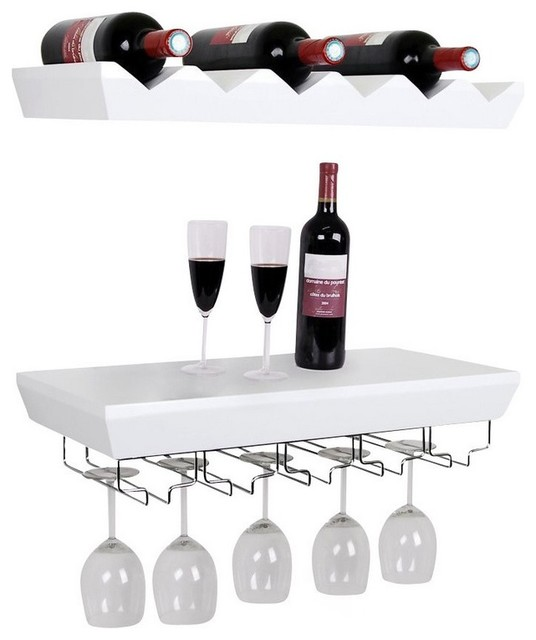 Wall Mounted Bottle Wine Rack Shelves With Glass Holder