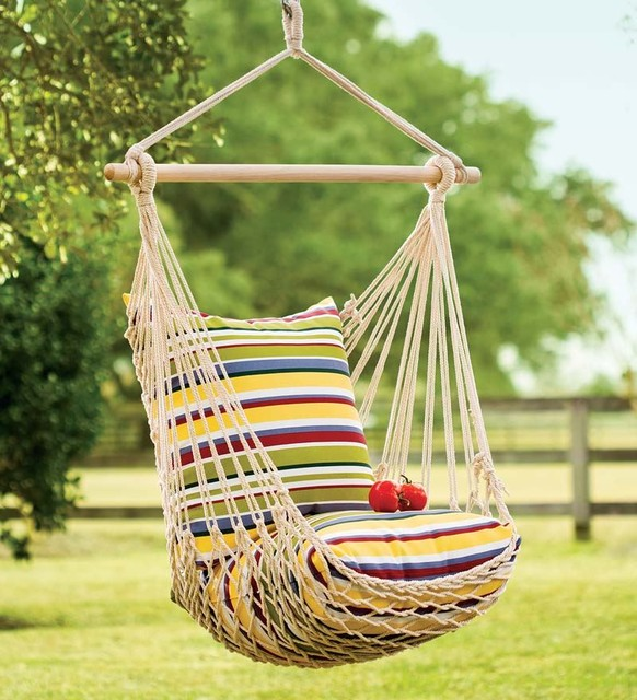 Rope Hammock Swing With Set of 2 Pillows - Contemporary - Patio ...
