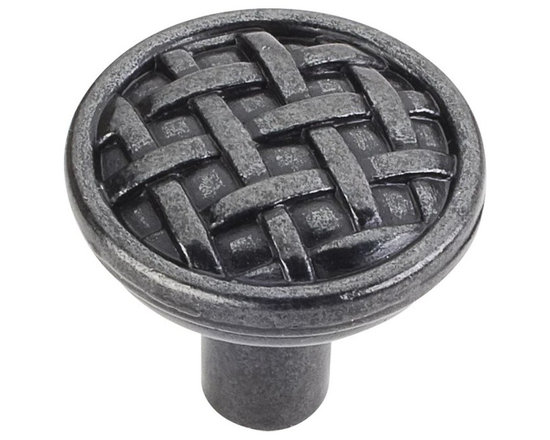 Jeffrey Alexander 3171-DACM Cabinet Knob - Small - Ashton Series - Gun Metal Fin - This gun metal finish round cabinet knob with braided design is a part of the Ashton Series from Jeffrey Alexander. A perfect blend of craftmanship in traditional and contemporary design to complement any decor.