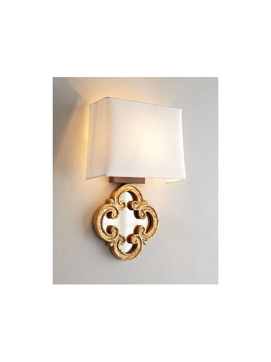 """Regina-Andrew Design - Regina-Andrew Design """"Motif Mirror"""" Sconce - With a scrolled-quatrefoil-motif mirrored base, this petite sconce is perfect for adding necessary light to hallways, powder rooms, or other small spaces. Or use it in multiples above a sofa or console. Made of wood and mirrored glass. Natural linen s..."""