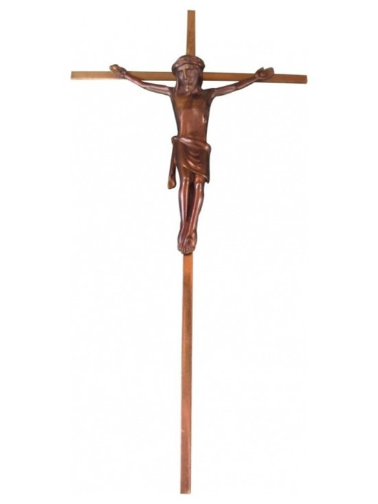 German Mid-Century Brass Crucifix - This example is from Germany - cast in Brass - Mid-Century in style. It stands 10 inches high by 5 inches wide.