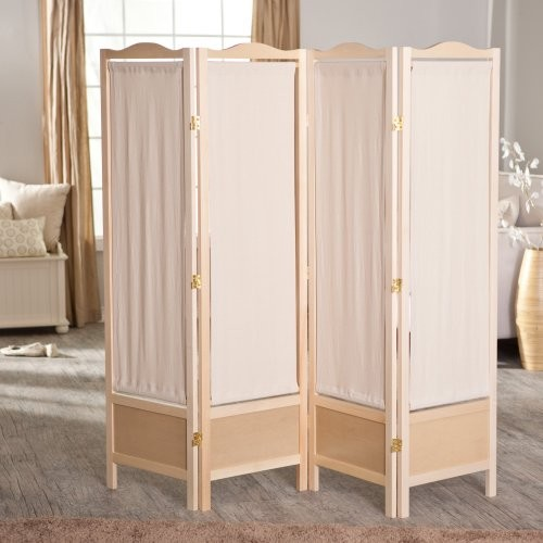 Ck group brooks canvas 4 panel room divider natural for Wall screen room divider