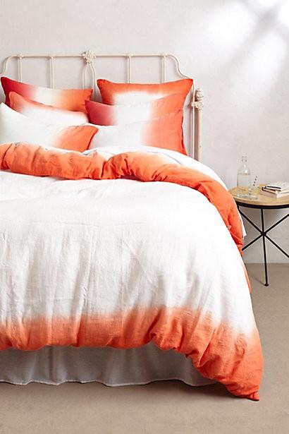 Sol Linen Duvet Orange Contemporary Duvet Covers And