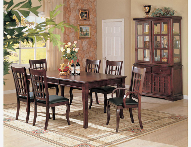 7 pc cherry wood dining room set table chairs leather seat for Cherry wood dining room set