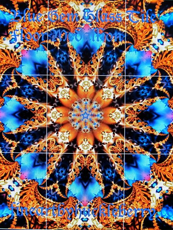 Blue Gem Glass Tile Floor -
