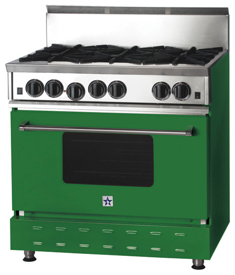 36-inch BlueStar Range, Emerald Green (RAL 6001) modern-gas-ranges-and-electric-ranges