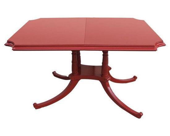 Pre-owned 1960s Egyptian Motif Dining Table - Don't you love this shade of red!? This Egyptian motif 1960s dining table has the perfect shape and size for an apartment or house. Its bright red will be sure to brighten up any dining room.