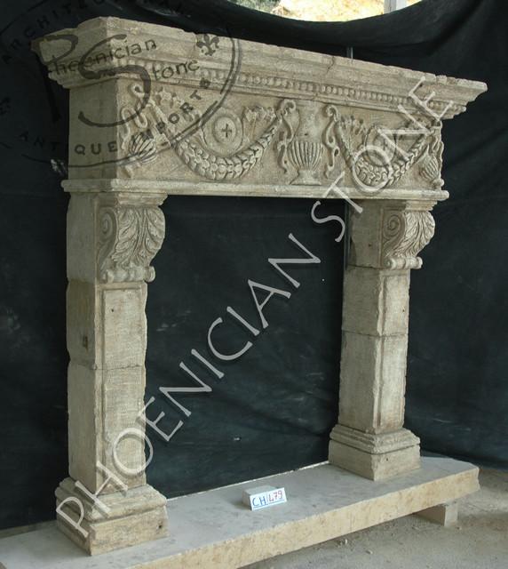 Antique Stone Fireplaces mediterranean-fireplaces