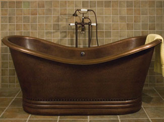 Paige Bateau Hammered Copper Double Slipper Bath Tub bathtubs