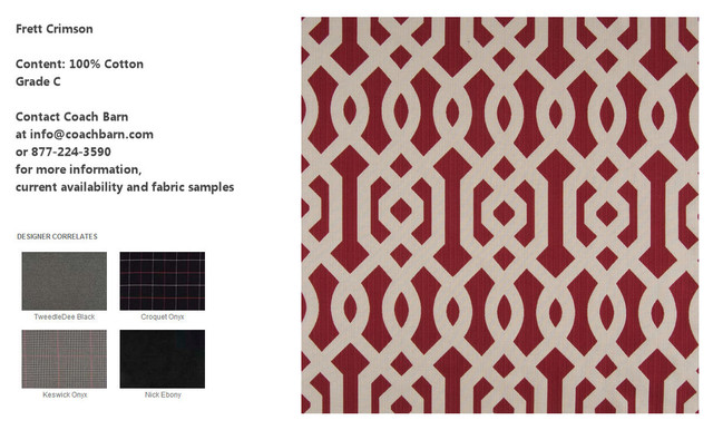 Frett Crimson - CB Upholstered Collection Fabrics eclectic-upholstery-fabric