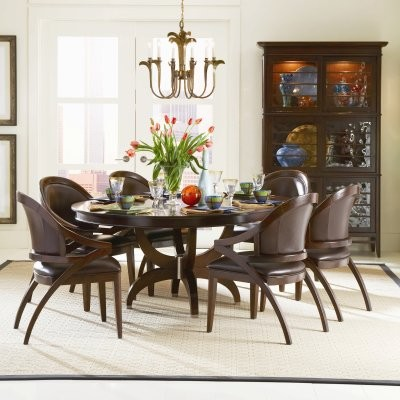 Fallston 54 Inch Round Pedestal Dining Table Set With 20 Inch Leaf Modern