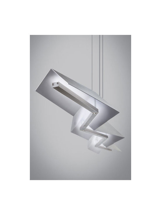 Jorn Linear Suspension by Tech Lighting - Jorn Linear Suspension features sharp angles that create a daring, structured light sculpture sure to make a modern statement in any space. Available in satin nickel or black finish. 47 watts of LED face up towards the matte white inner metal shade providing a glare free wash of indirect light (2350 lumens, 3000K). Dimmable with low voltage electronic dimmer. 54.8L x 4.25H.