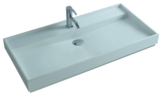Adm White Countertop Solid Surface Stone Resin Sink Contemporary Bathroom Sinks By Adm