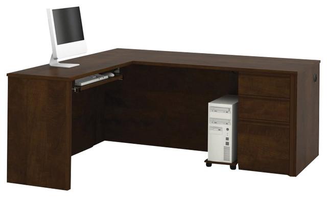 bestar prestige l shape wood computer desk in chocolate transitional desks and hutches