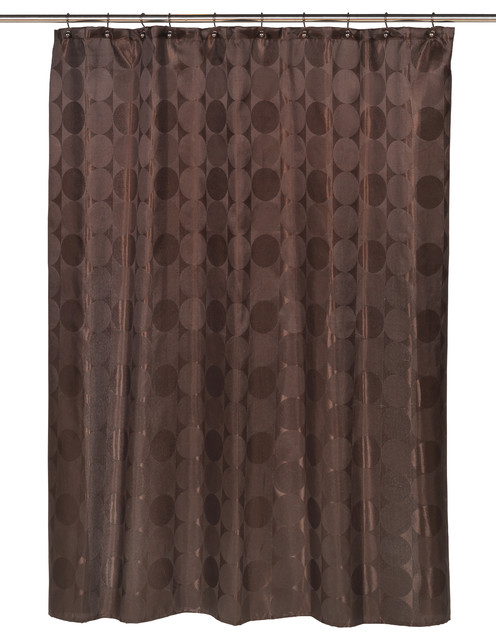 circles fabric shower curtain in brown contemporary shower curtains