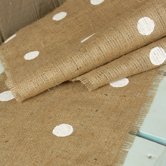 Polka Dot Farmhouse Burlap Table Runner by The Shabby Creek Shop modern table linens