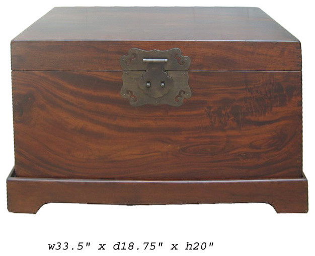Chinese oriental brown wood trunk table for Asian trunk coffee table