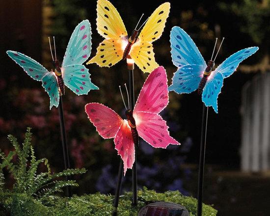 Solar Fiber Optic Butterfly Garden Stake Light, Set of 4 -