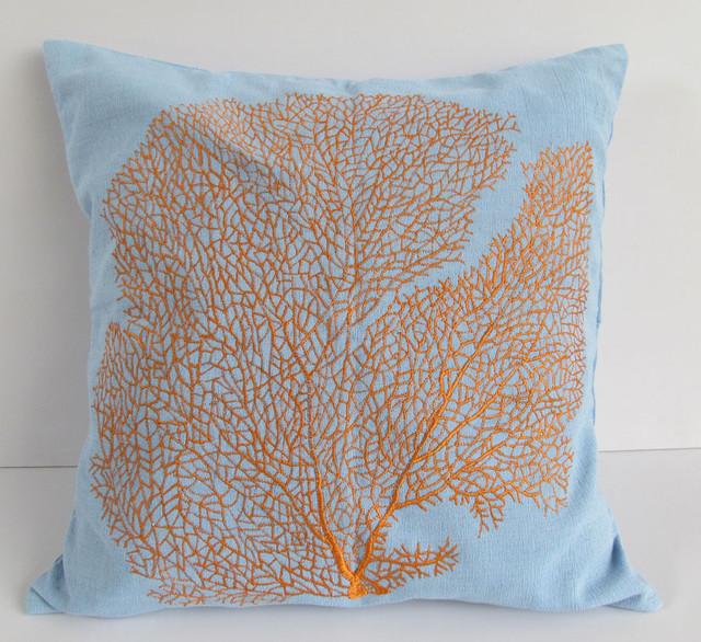 Orange Coral Fan Coastal Pillow On Blue Tropical Home