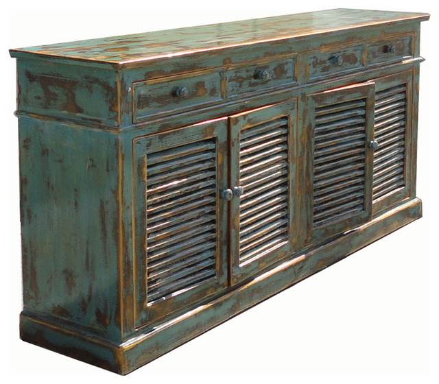 Vintage Country Blue Lacquer Console Buffet Table
