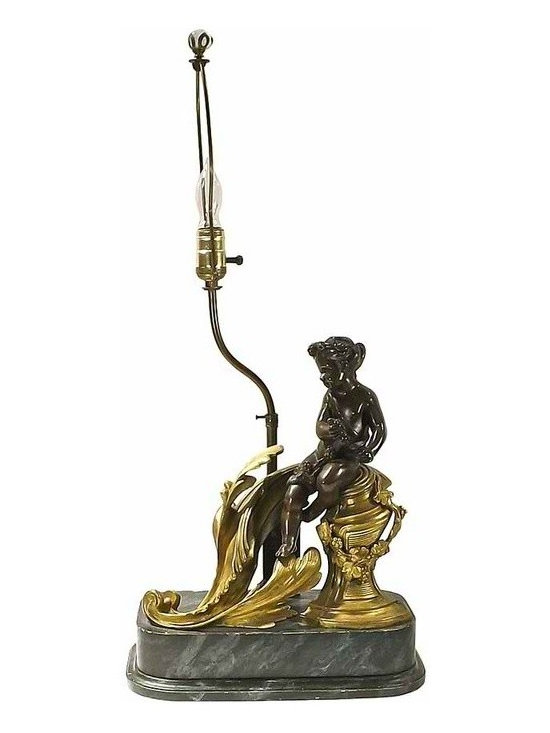 Brass and Wood Lamp - Antique French bronze, brass, and wood lamp with faux-marble painted wood base bronze cherub figurine resting on a brass acanthus leaf.