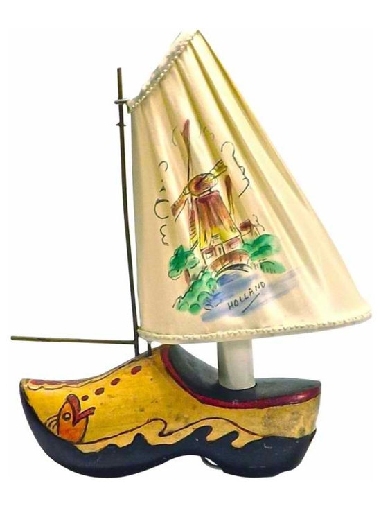"Dutch Wooden Shoe Boat Lamp - Vintage Dutch wooden shoe boat lamp with shade /sail marked: ""Holland"" and a hand drawn and painted windmill scene on the silk shade/sail."