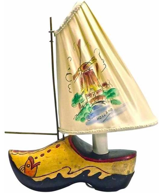 Dutch Wooden Shoe Boat Lamp mediterranean-table-lamps