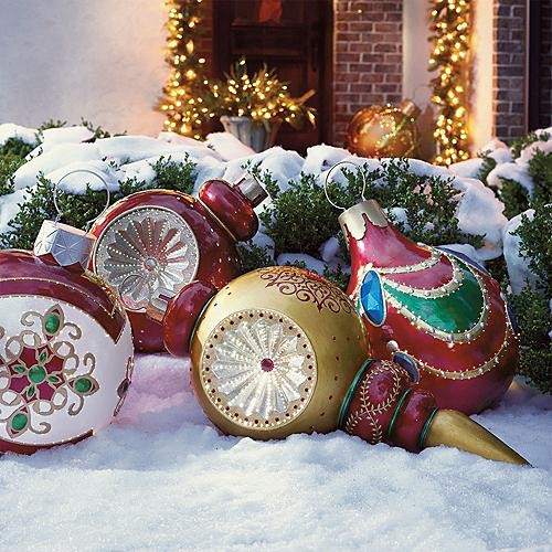 Giant finial reflector fiber optic ornament outdoor for Large christmas decorations