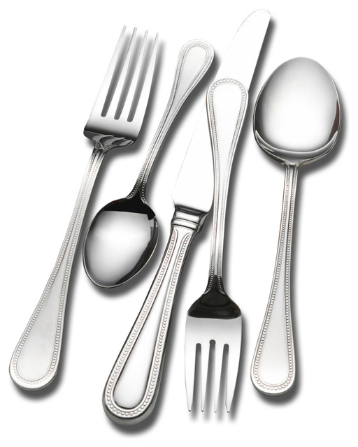 Wallace Emerson 18 10 45 Piece Flatware Set Contemporary Flatware And Sil