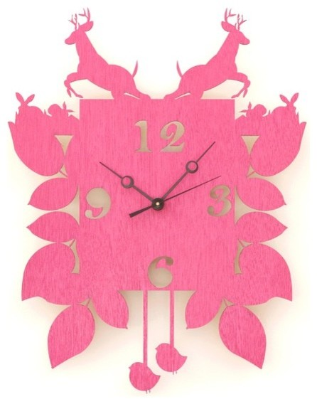 Hot Pink Cuckoo Clock by Snowfawn eclectic-clocks