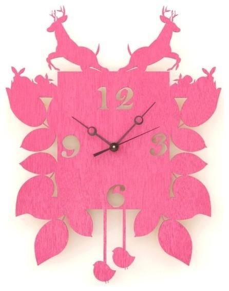 Hot Pink Cuckoo Clock by Snowfawn eclectic-cuckoo-clocks