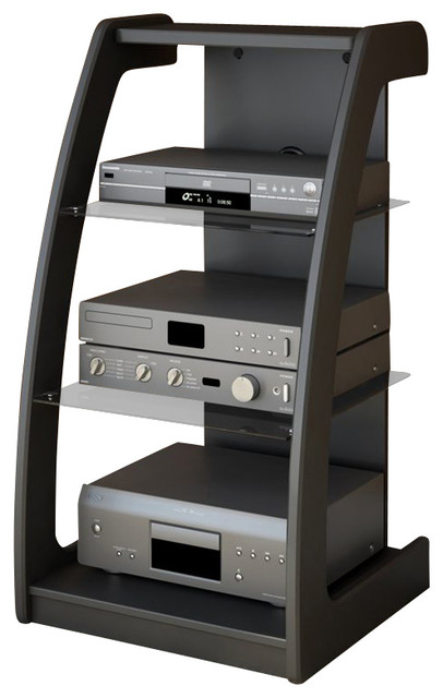View Images Sonax Milan Black Three Shelf Component Stand
