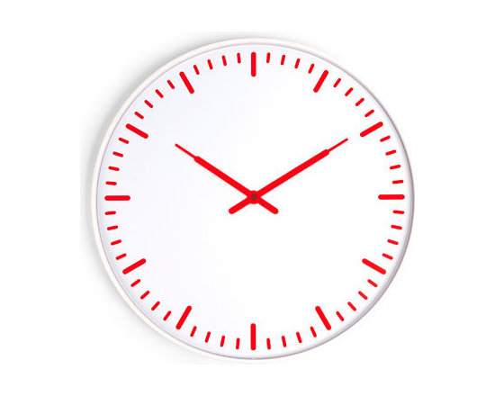 Ultra Flat Wall Clock + Red & White -