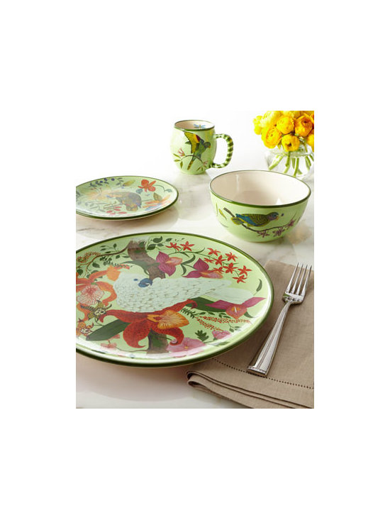 "Horchow - 16-Piece ""Parrotdise"" Dinnerware Service - The talking bird takes the lead in an elaborately patterned collection of dinnerware from Lynn Chase. Handcrafted of earthenware. Dishwasher safe. Service for four includes four each of the following: dinner plates, salad plates, soup bowls, and mugs. Imported."