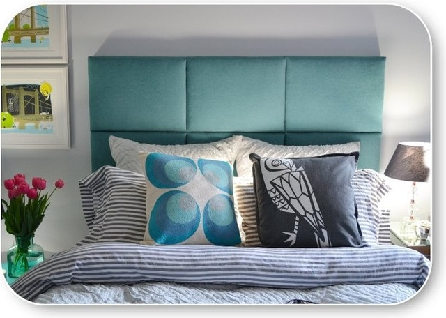 Queen Upholstered Headboard in Teal Twill modern headboards