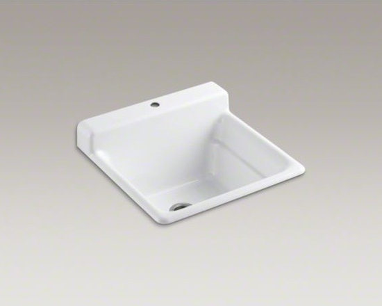 KOHLER - KOHLER Bayview(TM) top-mount utility sink with single faucet hole on top of back - The Bayview utility sink helps you take on the toughest tasks at home, be it in the utility room, kitchen, or garage. A generous 11-inch depth gives you plenty of room to work, and an integrated backsplash helps keep liquids where they belong. Crafted fro