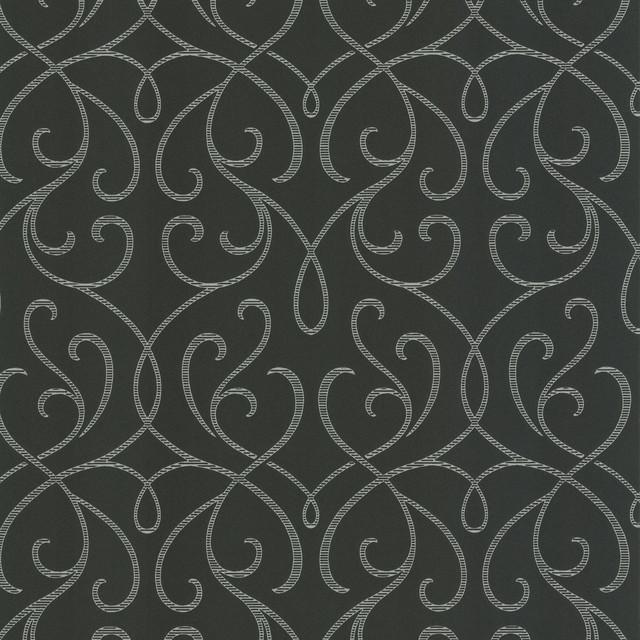 Dl Accent Scroll Wallpaper, Charcoal, Bolt contemporary-wallpaper