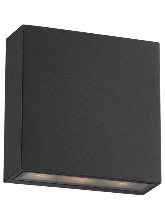 "Possini Euro Design - Stanford Black Outdoor LED Wall Up and Downlight - Add this black finish LED outdoor wall light to your porch or other outside wall. The cylinder shape aluminum body in black will add a handsome accent to your home. This up and down light style fixture sends beautiful illumination out from the bottom and top of the design. Contemporary outdoor up & down LED wall light. Black finish. Aluminum construction body. Tempered glass lens.  Includes one 6-watt LED. 420 lumens. 3000K warm color temperature.  Contemporary outdoor up & down LED wall light.  Black finish.  Aluminum construction body.  Tempered glass lens.   Includes one 6-watt LED.  420 lumens.  3000K warm color temperature.  Not dimmable.  5 1/2"" wide.  5 1/2"" high.  Extends 2 1/2"" from the wall."