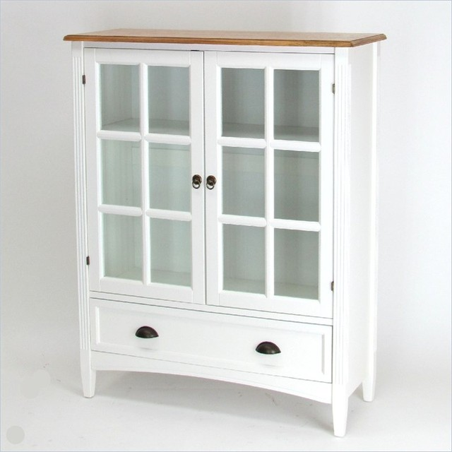 Wayborn 1 Shelf Barrister Bookcase with Glass Door in White - Transitional - Bookcases Cabinets ...