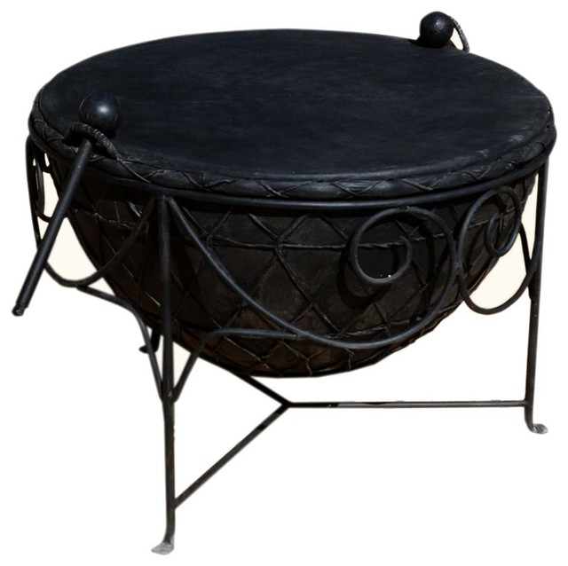 Black Wrought Iron Leather Round Drum Unique Coffee Table Eclectic Coffee Tables By